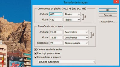 Optimizar fotografías para web con Photoshop - paso 3